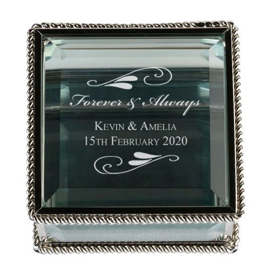 Flourish Silver Glass Jewellery Box