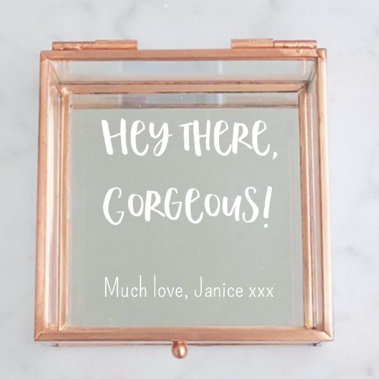 Fun Script Rose Gold Glass Jewellery Box