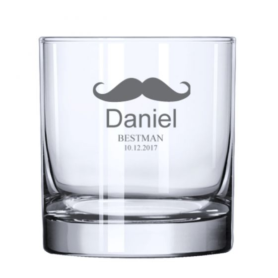 Mustache Rocks Whiskey Glass