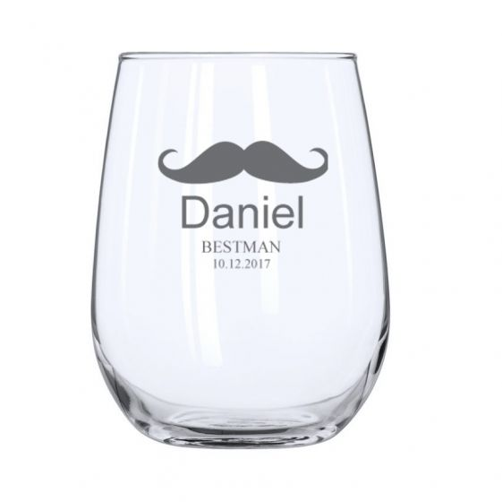 Moustache Design Engraved Personalised Stemless Wine Glass