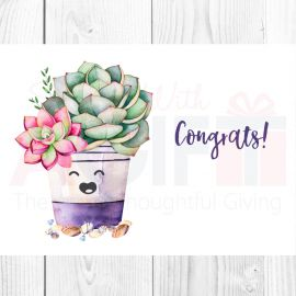 Congrats Succulent Theme Greeting Card